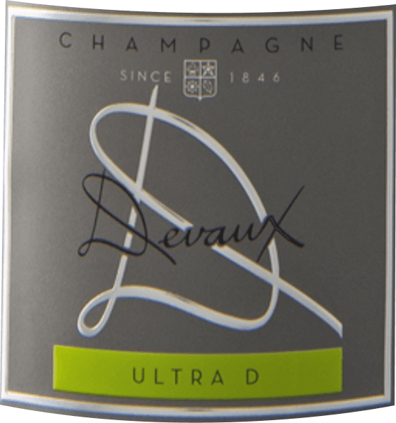 The Ultra D Extra Brut from the Champagne wine-growing region offers itself in the glass in brilliant shimmering golden yellow. The colour of this sparkling wine also shows reflections in the centre. On the nose, this Champagne Devaux Champagne presents all kinds of quinces, pears, Nashi pears and apples. As if this was not already impressive, roasted almonds, forest soil and brioche are added. The Champagne Devaux Ultra D Extra Brut inspires with its elegant dry taste. It was bottled with only 3 grams of residual sugar. Here it concerns a genuine quality wine, which clearly stands out from simpler qualities and thus this Frenchman raptures naturally with finest balance with all dryness. Taste does not necessarily need a lot of sugar. On the tongue, this light-footed champagne is characterised by an incredibly melty and creamy texture. Due to the moderate fruit acidity, the Ultra D Extra Brut flatters with a velvety palate feeling without lacking freshness. The finale of this maturing champagne finally convinces with a beautiful aftertaste. Vinification of the Ultra D Extra Brut of Champagne Devaux This elegant champagne from France is made from the Chardonnay and Pinot Noir grape varieties. After the grape harvest the grapes reach the winery as quickly as possible. Here they are selected and carefully broken down. Afterwards they are fermented in the bottle at controlled temperatures. After their end . Recommended with Champagne Devaux Ultra D Extra Brut This Frenchman is best enjoyed chilled at 5 - 7°C. It is perfect as an accompaniment to fruity endive salad, spaghetti with yoghurt mint pesto or asparagus salad with quinoa. Awards for the Ultra D Extra Brut of Champagne Devaux In addition to a price-consciousness ratio, this Champagne Devaux wine can also boast awards, including medals and top ratings beyond 90 points. In detail these are Decanter Awards - Gold James Suckling - 93 points