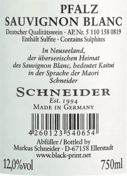 "The Kaitui Sauvignon Blanc from Markus Schneider is Germany's answer to New Zealand's white wine success. The name alone shows that Markus Schneider wants to compete with classics from the other end of the world - like Cloudy Bay & Co. Kaitui means ""tailor"" in the Maori language. The Kaitui Sauvignon Blanc with its delicate platinum yellow colour and greenish reflections is put into the glass. The first nose immediately recalls classic New Zealand or cold climate aromas. Freshly mown grass, boxwood, lemongrass, kaffir lime leaves, kiwi and crisp Granny Smith apple come to mind. Mineral notes and echoes of white flowers complement each other. On the palate the Schneider Kaitui starts out exceptionally powerful, juicy and palatable. Mineral nuances, fine melting and a long, exotic fruity finish make this wine an incredible experience. Vinification of the Kaitui Sauvignon Blanc Markus Schneider gets the grapes for his Kaitui from particularly high plots where the vines are rooted in limestone soil. After mashing, the grapes are left to macerate for 4 to 10 hours, after which the wine is gently pressed and fermented at a controlled temperature. Food recommendation for the Kaitui Sauvignon Blanc from Markus Schneider Enjoy this white wine from the Palatinate best with Asian dishes such as Thai fish curry, Vietnamese summer rolls or even with stir-fried chicken with colorful vegetables."