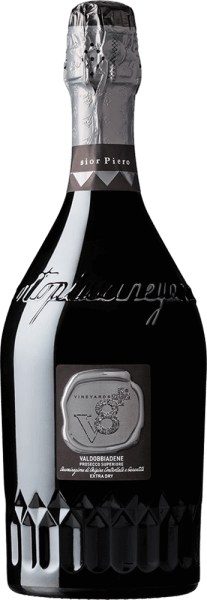 Sior Piero Valdobbiadene Prosecco Superiore Extra Dry by Vineyards v8+ is an excellent, varietal sparkling wine exclusively vinified from the Italian Glera grape variety. In the glass, this sparkling wine shimmers a delicate light yellow and the finely pearled, persistent perlage rises to a fine mousseux to the surface. Typical notes enchant the nose - intense aromas of ripe apples and juicy pears come to light. The bouquet is underlined by nutty hints. On the palate, this Prosecco impresses with a silky creamy texture and soft body. The fruity aromas of the nose also appear wonderfully on the palate. Food recommendation for the Vineyards v8+Sior Piero Valdobbiadene Prosecco Superiore Enjoy this Prosecco Spumante from Italy with a variety of appetizers - whether finger food, vegetable sticks or tapas. But also soloist, this sparkling wine is a real treat.
