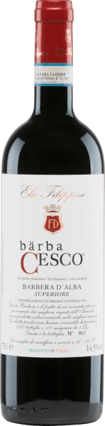 The Bärba Cesco Barbera d'Alba Superiore from Elio Filippino is a wonderful, pure red wine from Piedmont. In the glass this wine shines in a strong ruby red with violet reflections. The nose enjoys complex aromas of ripe forest fruits - especially blueberries, blackberries and blueberries - with hints of vanilla and precious wood. On the palate, this Italian red wine has a full body with a wonderfully elegant tannin structure. The finish is pleasantly long and is accompanied by vanilla tones. Vinification of Elio Filippino Bärba Cesco Barbera d'Alba Superiore After careful harvesting by hand of the Barbera grapes, they are carefully selected and crushed in the wine cellar. Traditionally, the must is fermented in stainless steel tanks. After completion of the fermentation process, this wine matures in barriques for a total of 18 months. The ageing in wooden barrels gives this wine its strong colour, intense aromas and elegant tannins. Food recommendation for the Bärba Cesco Elio Filippino Barbera d'Alba Superiore This dry red wine from Italy is the perfect accompaniment to roast beef in a dark sauce with onions, wild boar ragout with spaetzle or mature cheeses. We recommend decanting this wine.