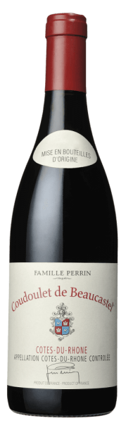 The Coudoulet de Beaucastel Côtes-du-Rhône by Perrin & Fils glows with a dark ruby red to violet colour. An intense scent of red and black fruits, thyme as well as earthy, peppery and smoky nuances characterize the nose. On the palate, it is well-balanced but full of ripe fruit and spicy notes. Velvety soft tannins in a long-lasting finish underline its perfect structure. Vinification/ production of the Coudoulet de Beaucastel The Coudoulet de Beaucastel of the Perrin brothers and their sons shows what lies in the vines of the Rhône valley. The winery, which has been working biodynamically since 1964, relies on manual harvesting and gentle processing. The maceration runs for 48 hours in the classic concrete vat, for the maturation different parts are stored in wooden barrels for half a year. The Coudoulet de Beaucastel Côtes-du-Rhône is made up of the Grenache, Mourvèdre, Syrah and Cinsault varieties. Tasting notes/ degustation of the Coudoulet de Beaucastel The cuvée of the southern Rhône of Perrin & Fils shines in a vivid, concentrated dark ruby red to purple colour of great depth. The nose is characterized by an intense and subtle fragrance of black fruits such as blackberry and cherry and thyme as well as light wood and vanilla aromas. On the palate it is full-bodied, lush, juicy, balanced, soft and ripe with complex aromas of berries, plums and liquorice. Velvety, perfectly matured tannins and a wonderful structure support the palate, which finishes with a beautiful long finish. Food recommendation for the Coudelet de Beaucastel Enjoy the Coudoulet de Beaucastel Côtes-du-Rhône with poultry, mushrooms or beef. Awards/ Prizes for the Coudoulet de Beaucastel Robert M. Parker 92 points (2015); Wine Spectator: 91 points (2014)