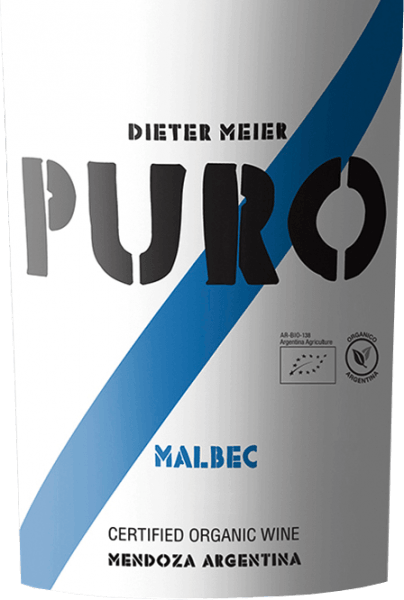 The Puro Malbec Mendoza by Dieter Meier is a pure red wine and presents itself in a deep ruby red with violet highlights.  Aromatic notes of fresh berries unfold in the nose - especially raspberries and blackberries - juicy shade morals, noble plum and subtle hints of freshly ground coffee beans. On the palate, this red wine is powerful, but remains very pleasantly accessible. The aromas of the nose also appeared on the palate, especially plum. The gently ripened tannins are perfectly integrated into the structured body and lead to a long finish.  Vinification of Puro Malbec by Dieter Meier In the Argentine wine region of Luján de Cuyo, the Malbec grapes grow on high vineyards. This altitude offers the grapes the advantage that the natural ripening process is delayed by the cool nights and the grapes for this red wine can reach their full ripeness. This creates a perfect harmony of alcohol, tannins, aromas and fresh acidity.  These vineyards of Dieter Meier are cultivated exclusively under organic cultivation methods. The harvest for this red wine will take place at the end of March. After careful harvesting, the grapes are immediately brought into the wine cellar and fermented in a stainless steel tank at a controlled temperature (27 to 28 °C). Dieter Meier renounces the use of wood. The pure ageing in the stainless steel tank gives this wine its juicy, fresh and fruity character.  Food recommendation for the Puro Malbec This dry red wine from Argentina goes wonderfully with juicy spicy roast beef in a herb coat, grilled meat skewers or with spicy pasta dishes and matured hard cheeses.