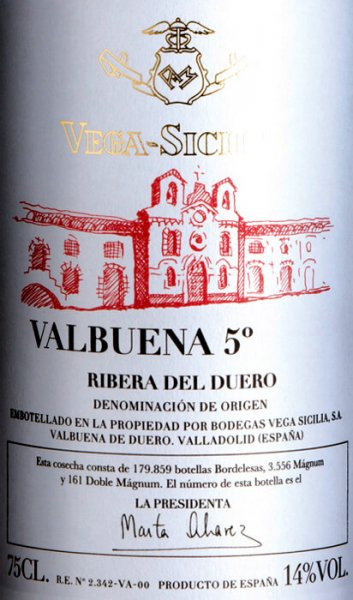 The Valbuena 5° (5 anos) of Vega Sicilia is one of the hallmarks of Spanish viticulture. It comes into the glass with youthful fullness and fruit and shows up here in a cherry to crimson color. The Vega Sicilia Valbuena 5 ° pampers the nose with delicate ethereal nuances of Mediterranean undergrowth, balsamic notes and sensual fruitiness, with shadow morals as well as wild berries in the foreground. On the palate, the Vega Sicilia Valbuena 5 ° delights with elegantly developed, velvety soft tannins, ingeniously balanced extract and fresh acidity. After the Alion, this complex wine is the consequent next step in the fascinating world of Vega Sicilia wines. Vinification of the Vega Sicilia Valbuena 5 ° The grapes for the Valbuena 5 ° grow on soils that are mostly rocky and barren and are dominated by limestone with varying proportions of clay, stone and limestone. After harvesting, the grapes are immediately brought to the winery and here cold mashed in the barrel for 3-5 days and then fermented spontaneously with natural yeasts.After alcoholic fermentation, the Valbuena 5 ° is transferred from Vega Sicilia into new and used barrels (8500 litres down to the barrique) made of French and American oak and aged for about 20 months. After bottling, the wine matures for another three years until Valbuena 5 ° is allowed to leave the winery after a total of five years of maturity. Food recommendation to the Valbuena 5 ° of Vega Sicilia This red wine from Vega Sicilia is the pride of the Ribera del Duero region. It goes perfectly with grilled meat of game and beef, with roasts, lamb, mushrooms and game or a strong soup. Awards for the Valbuena 5 ° of Vega Sicilia Antonio Galloni: 94 points for 2008 Falstaff: 94 points for 2008 Robert Parker: 94 points for 2008 Wine & Spirits: 93 points for 2008