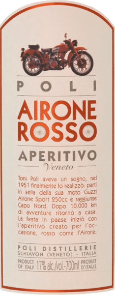 The Airone Rosso from Jacopo Poli is an aromatic Italian aperitif prepared according to an old recipe of the Poli family. In the glass this liqueur shines in a rich ruby red with brick-coloured highlights. The intense bouquet has distinctive, spicy aromas of herbs, camomile and clove. On the palate, this herbal liqueur is very pleasant with a wonderful aroma, which is accompanied by a fine bitter note. Production of Poli Airone Rosso This aperitif is made from an aromatic infusion of a grappa with macerated herbs and spices and wormwood. The herbs used include wormwood, centaury, thyme, marjoram, sage, chamomile, cloves, coriander, gentian, angelica, calamus, cinchona bark and orange peel. Ingredients: Vermouth, sugar, grappa, natural flavours, colour E-129, alcohol. Serving suggestion for Airone Rosso Jacopo Poli Aperitivo Enjoy this Italian herbal liqueur pure or as an ingredient for a party drink. Or serve this aperitif with ice cream desserts.
