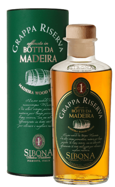 The Grappa Riserva Botti da Madeira from Antica Distilleria Sibona shines intensely amber in the glass. A fruity, captivating bouquet unfolds on the nose, on the palate this Grappa Riserva surprises with finesse, elegance and richness in taste. Flowery nuances reminiscent of Madeira wine resonate in the long finish.  Production of the grappa Riserva Botti da Madeira from Antica Distilleria Sibona The basis for this special grappa is a grappa Riserva di Moscato from the marc of the Muscat grape and other Piedmontese white grape varieties. This grappa was first aged for a long time in classic oak barrels, then matured for a few months in wooden barrels from the island of Madeira, which had already been used there for the ageing of Madeira wine. The Antica Distilleria Sibona used the process of ageing in Madeira barrels, which is already practiced with very good results for whisky, for the first time also for the ageing of grappa riservs. The result was qualitatively and tastefully outstanding and is rewarded with increasing success and recognition. Awards International Wine & Spirit Competition - BronzeInternational Spirits Competition - Gold The grappa comes in attractive gift packaging.