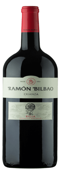 The Rioja Crianza DOCa by Bodegas Ramón Bilbao shines dark ruby red in the glass. On the nose complex aromas unfold with various varietal fruits, such as blackberries and black cherries. This bouquet is rounded off by the nuances of vanilla, coconut, chocolate and some cinnamon. On the palate, this Spanish red wine is very balanced, with well integrated acidity, round and velvety. The finale is long and characterized by soft, ripe tannins. An inspiring wine that makes you want more. Vinification of the Rioja Crianza DOCa by Bodegas Ramón Bilbao The Rioja Crianza from Bilbao is made from ripe Tempranillo grapes, the very own Spanish grape variety, from the wine region of Rioja Alta. After fermentation, the wine is aged for 14 months in American oak barrels and refined for a further 8 months in the bottle. Food recommendation for the Rioja Crianza DOCa by Bodegas Ramón Bilbao Enjoy this dry red wine to savoury pasta, fatty fish such as salmon, grilled meat or medium-ripe, slightly spicy cheese.