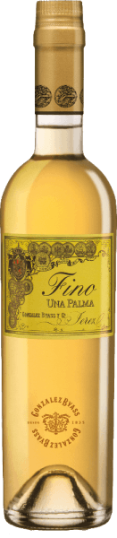 Una Palma by Gonzalez Byass from the Spanish DO Jerez wine-growing region is a grape variety pure, balanced sherry that is vinified exclusively from the Palomino Fino grape variety.  In the glass, this wine shimmers in a delicate light gold with greenish highlights. The polished bouquet unfolds delicate aromas of dried nuts, freshly baked bread, floral accents of chamomile and mineral nuances thanks to the Albariza base. Very dry with a strong personality, this sherry takes the palate. The nutty notes of the nose are reflected and accompanied by a balanced, fresh texture. The finale is wonderfully long lasting.  Vinification of Gonzalez Byass Una Palma Fino After the careful harvesting of the Palomino Fino grapes, the harvested goods are gently ground in the wine cellar of Gonzalez Byass. At low temperatures, this sherry is fermented in Inox steel tanks and then sprayed on to 15.5% by volume and placed in oak barrels called sobretablas (barrels for the most recent vintages). For 6 years, this sherry matures in the wooden barrels and is unfiltered and clarified on the bottle after this maturation period.  Food recommendation for the Una Palma Byass Fino Enjoy this dry sherry lightly chilled just solo or pass this wine with fresh seafood and fish in creamy sauces.  Awards for Fino Una Palma Gonzalez Byass Robert M. Parker - Wine Advocate: 91+ points Wine Spectator: 91 points (awarded December 2017)