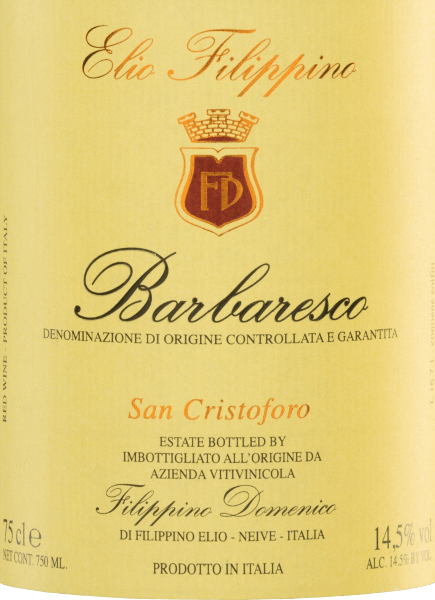 In the glass,  the San Cristoforo Barbaresco DOCG by Elio Filippino shimmers in a strong garnet red with orange highlights.  This pure red wine reveals expressive aromas of ripe raspberries and juicy grapes - accompanied by fine hints of dark chocolate and liquorice. On the palate, this Italian wine presents itself with an impressive elegance supported by a powerful body. The tannins are perfectly integrated and accompany in the long-lasting reverberation.  Vinification  of Elio Filippino San Cristoforo Barbaresco The Nebbiolo grapes are carefully picked by hand. Subsequently, the harvested material in  Elio Filippino's wine cellar is carefully selected and mashed. The resulting mash is fermented in a large wooden barrel at a controlled temperature. This wine is then aged for a total of 24 months in large Slavonian oak wooden barrels.  Food recommendation for  Barbaresco Elio Filippino San Cristoforo Enjoy this dry red wine from Italy with stuffed noodles in a strong sauce, with roast onions or with ripe, creamy cheeses, such as blue cheese.