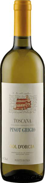 The Sant 'Antimo Pinot Grigio DOC by Col d 'Orcia is presented in the glass in an intense lemon yellow with greenish reflections. This white wine exudes its varietal aromas of citrus fruits, floral notes and subtle mineral notes. This white wine from Tuscany is elegant and body-rich with a lively acidity and fine structure. Its reverberation is very delicate and long-lasting. Vinification for the Sant 'Antimo Pinot Grigio DOC by Col d 'Orcia After harvesting, the grapes for this wine were cold macerated and gently pressed. The fermentation took place over a period of about 10-12 days. To preserve the aromas, this Pinot Griogio was bottled early. Food recommendation for the Sant 'Antimo Pinot Grigio DOC by Col d 'Orcia Enjoy this dry white wine with pasta and risotto, grilled vegetables and antipasti or with dishes with mushrooms or light meat.
