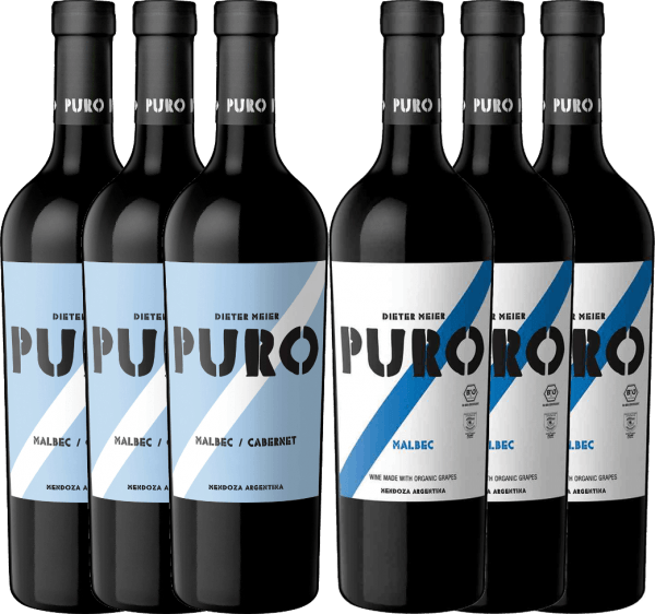 These two organically grown Puro red wines from Dieter Meier come from the best wine-growing region in Argentina: Mendoza. Get to know and love both wines in our 6-pack now! Package of 6 - Puro Malbec & Malbec Cabernet includes: 3 bottlesDieter Meier Puro Malbec CabernetThe Puro Malbec Cabernet convinces the nose with its fruity bouquet and the palate with its powerful and full-bodied character. 3 bottlesDieter Meier Puro MalbecThe Puro Malbec exudes a beautiful bouquet of red berries and shade morals. The palate can be pampered by the pleasantly accessible yet powerful personality with juicy plum fruit.