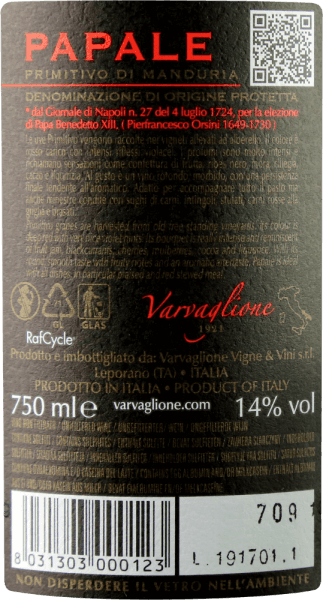 """The Papale Primitivo di Manduria of Varvaglione is one of the figureheads of the winery. This exceptional red wine comes into the glass with bright purple and cherry-red reflections. The nose is determined by the most intense notes of ripe berries, especially blackberries, blueberries and red currants. Spicy notes of brown candy, oak, cocoa and liquorice round off the bouquet of the Papale Primitivo di Manduria by Varvaglione On the palate, the papal - Italian for peachy - starts wonderfully round, full-bodied and silky. Its subtle fruit sweetness combines excellently with soft tannins and a harmoniously woven fruit sweetness. Vinification of the Papale Primitivo di Manduria of Varvaglione Only grapes of particularly old vines are used for this top primitivo from Manduria. After harvesting, they are destemmed and mashed. After a certain mashing time, the Papale Primitivo di Manduria migrates into the fermentation tanks at 26-28°C. After fermentation and biological acid conversion, the Varvaglione Papale is filled into French oak barrels, where it can then refine for 8 months.The Papale wine series was launched on the occasion of the 90th anniversary of Varvaglione, which was celebrated in 2012. The """"papal"""" wine got its name from the vineyard where the grapes for the Papale Primitivo grow, because it once belonged to the family of Pope Benedict XIII. Food recommendation for the Varvaglione Papale Primitivo di Manduria Enjoy this first-class primitivo of old vines with spicy meat dishes such as lamb ragout with cinnamon and quinces, grilled entrecôte with braised pepper or simply with exquisite finely tart chocolate. Awards for the Papale Primitivo di Manduria by Varvaglione Mundus Vini: Gold for 2017 Asio Wine Trophy: Gold for 2017 Concours Mondial de Bruxelles: Silver for 2017 Luca Maroni: 93 points for 2016"""