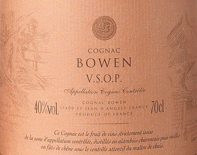 The Cognac VSOP from Cognac Bowen is a full-bodied, refined brandy from the Ugni Blanc (80%), Colombard (15%) and Folle Blanche (5%) grape varieties. In the glass, this cognac shimmers in a warm mahogany with golden brown reflections. The elegant bouquet combines fruity aromas of juicy plums and ripe pears, together with floral notes and fine wood nuances - thanks to the ageing in limousine oak. On the palate, this French brandy is wonderfully warm and gentle with a full-bodied body that is absorbed by the wonderful aromas of the nose. The long reverberation is very elegant and is accompanied by fine spices (vanilla) and oak wood. Vinification of the Cognac Bowen VSOP The grapes for this cognac are harvested very early and fermented to a strongacidic white wine. The acid protects against oxidation as cognac is not sulphurized. This base wine is now distilled twice in a copper burner using the traditional Charentaiser distillation process. Wooden barrels made of limousine oak are selected for maturation. This cognac matures for at least 4 - 5 years. Serving recommendation for the Bowen Cognac VSOP Enjoy this French brandy solo with a selected cigar or as a digestif after an exquisite menu.