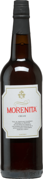 Emilio Hidalgo's Morenita Cream is a wonderfully sweet sherry made from Palominon (70%) and Pedro Ximénez (30%) grapes. The glass reveals itself in an intense amber color with golden shimmers. A clean delicate bouquet with hints of caramel, dried fruits, nutty notes and mocha enriches the nose. Soft and elegant, this sherry lies on the palate and impresses with its beautifully balanced sweetness and a slightly refreshing taste. The finale has a pleasant length. Vinification of Hidalgo Morenita Cream The grapes harvested by hand are destemmed, gently pressed and the must produced is fermented in a temperature-controlled manner in a stainless steel tank. The young wine is then drawn off, sprayed on and placed in American oak barrels for ripening. After maturation without yeast flour, the wine is transferred to the traditional Solera system, in which sherries of the same type are aged in barrels arranged one above the other. The oldest wines are stored in the lower barrels (Solera), while the youngest wines are stored in the upper rows (Criaderas). The sherry intended for sale is always removed from the lower barrels. In this case, however, only a small part (a maximum of one third) is removed and the removed part is then filled up by sherry from the upper rows. The whole principle continues to the uppermost barrels, where young wine, the Mosto, is added to the sherry. Oloroso, produced under oxidative influence, is then married to a naturally sweet wine. Food recommendation for the Morenita Cream Emilio Hidalgo There are no limits to the possibilities of enjoyment: this sweet sherry from Spain is recommended both for pure drinking and as an aperitif, as an accompaniment to tapas & canapés and as a dessert wine.