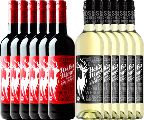 Now it gets hot in the pre-Christmas season with our 12-pack of organic mulled wine from Hot Deer. Included is the red and white mulled wine. Enjoy the vegan mulled wine with family and friends and start the Advent season comfortably. The hot deer mix package includes: 6 bottles: hot deer red mulled wine  6 bottles: hot deer white mulled wine