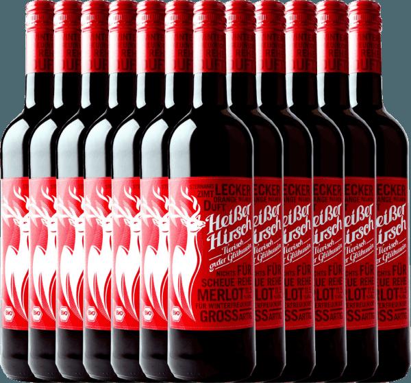 12er Vorteilspaket - Roter Bio-Glühwein - Heißer Hirsch