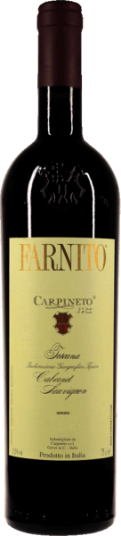 The Farnito Cabernet Sauvignon by Carpineto comes into the glass with intense, dense ruby red and delicate, garnet red reflections. The nose of this varietal Tuscany cabannet delights with opulent nuances of blackcurrants, complemented by cream de cassis, ripe blackcurrants and other berry fruits. Spicy notes of vanilla, liquorice and some cloves as well as balsamic nuances complement the bouquet of Farnito Cabernet Sauvignon. On the palate, the Carpineto Farnito Cabernet Sauvignon starts exceptionally powerful, dense and yet very fresh and vital. In addition to the fresh fruit acid, the impressive but very polished tannins stand out, which form the background like a soft, velvety black-red cloth, against which the aromas of the Farnito Cabernet Sauvignon Toscana IGT stand out like radiant diamonds. Vinification of Carpineto Farnito Cabernet Sauvignon The grapes are pressed and fermented separately according to parcels. After about 2 weeks of fermentation, the wine rests and undergoes the biological acid conversion. In spring, the Farnito Cabernet Sauvignon is then transformed into barriques in which it can mature for about 1 year. This is followed by a bottle maturation lasting at least 8 months before the Farnito comes on the market. Food pairing for Farnito Cabernet Sauvignon The best way to enjoy this top red wine from Tuscany is with beef fillet with braised eggplant, with lamb chops with potato celery stew and wild mushrooms or just like that, neat or with a fine bitter chocolate.