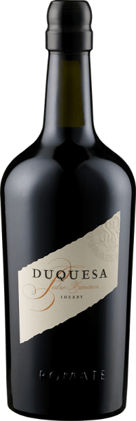 The Duquesa Pedro Ximénez Reserva Especial by Bodega Sánchez Romate Hermanos appears in the glass in a dark mahogany with concentrated aromas of raisins, molasses, honey and a hint of chocolate. This heavenly sweet sherry from the Pedro Ximénez grape variety reveals gentle roasted aromas on the palate before ending in a long and intense final. Food recommendation for the Duquesa Pedro Ximénez Reserva Especial by Bodega Sánchez Romate Hermanos Enjoy this dry sherry as an aperitif, with precious mould cheese or desserts. Awards for the Duquesa Pedro Ximénez Reserva Especial by Bodega Sánchez Romate Hermanos Mundus Vini: Great Gold Wine Spectator: 90 points Guia Penin: 90 points