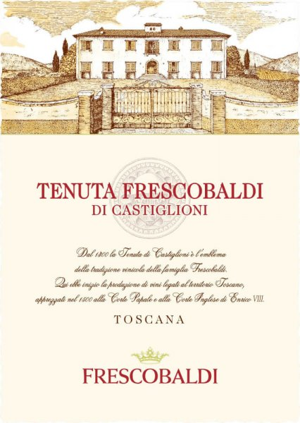 Tenuta Frescobaldi di Castiglioni Toscana IGT by Tenuta di Castiglioni shines in purple red tones with a distinctive bouquet of ripe red fruits, hints of black pepper and chocolate. On the palate, this Tuscan red wine presents a rich and full structure that harmonizes with pleasant freshness and a long finish. Production of the Tenuta Frescobaldi di Castiglioni by Tenuta Castiglioni This modern and intense terroir wine from the winery of the same name is a successful cuvée from Cabernet Sauvignon 50%, Merlot 30%, Cabernet Franc 10% and Sangiovese 10%. Malolactic fermentation follows immediately after the maceration. The wine is then aged for 12 months in barriques and another 2 months in the bottle. Food recommendation for the Tenuta Frescobaldi di Castiglioni Enjoy this powerful red wine from Tuscany as an ideal accompaniment to game, especially rabbit and wild boar, steaks, beef or pork steak, but also to strong cheeses. Awards James Suckling - 90 pointsWine Spectator - 90 Points