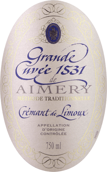 "The Crémant Grande Cuvée 1531 from Sieur d'Arques, which has won several awards, is considered one of the best sparkling wines in southern France and was named after the year in which bottle fermentation was invented or discovered in France. This Crémant de Limoux appears in a brilliant white gold glass. A fine perlage transports aromas of green apple, pear and honey, as well as floral notes of white flowers. On the palate, the finesse of this sparkling wine is reflected in a fine, restrained acidity structure and an excellent mousseux. Here, too, its freshness unfolds, together with aromas of honey and green apple, as well as an elegant minerality. In a medium finish, the lively character of this classic is once again evident. Vinification of Aimery Grande Cuvée 1531 Crémant The award-winning Crémant of the Sieur d'Arques wine cooperative pays homage to an important historical event. The first official mention of a sparkling wine from France dates back to 1531. At that time, monks of St. Hilaire Abbey discovered bottle fermentation by leaving semi-fermented grape must in sealed bottles. This continues to ferment. Since the carbon dioxide could not escape, it dissolved in the wine and made it tingling. The sites of Sieur d'Arques lie in the Langedoc and are composed of four different terroirs: Autan, Méditerranéen, Océanique and Haute-Vallée form the winegrowing basis for Crémant de Limoux. Depending on their wishes and the weather, the oenologists at the house have access to the yields of the climatically different terroirs. The Crémant 1531 Grande Cuvée is made up of the Chardonnay, Chenin Blanc and Pinot Noir grape varieties. These are harvested earlier than the grapes of the still wines in order to guarantee a firm acidity structure. The base wines are then fermented a second time after the ""traditional method"", i.e. classical bottle fermentation. The Grande Cuvée 1531 is then left on the yeast for 12 months. Food recommendation for the Aimery Grande Cuvée 1531 The Grande Cuvée 1531 is an excellent aperitif. It also goes well with hors d'oeuvres or desserts such as créme brûlée. Awards for the Grande Cuvée 1531 Falstaff: 90+ points & 2nd place in Crémant tasting 2018 Concours Générale Agricole de Paris 2016: Gold Mundus Vini 2016: Silver Vinalies International 2017: Silver Wine world 1/2015: 88 points Vinalies 2012: Gold"
