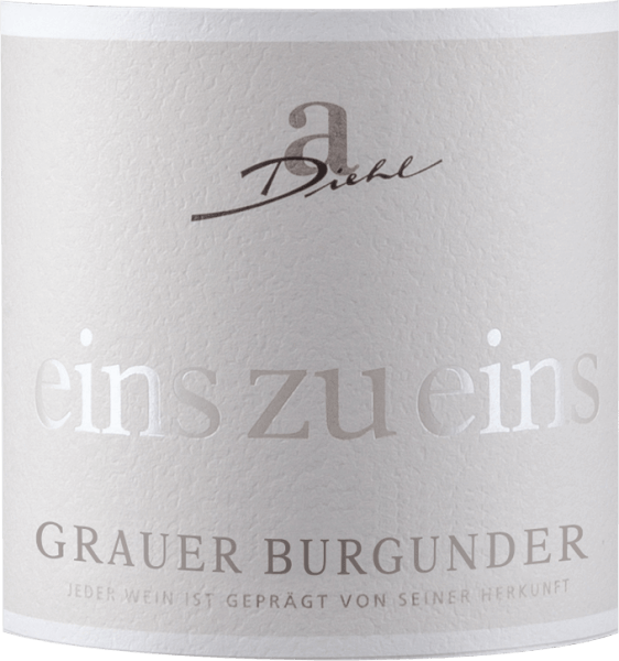 "The Pinot Gris from the ""Eins zu eins"" (one-to-one) series of the Winery A. Diehl presents itself with a beautiful white golden colour in the glass. This varietal white wine from the Palatinate convinces with a fruity, tangy and mineral bouquet full of ripe pears and apples, complemented by delicate nutty notes and mineral-herbal undertones. On the palate, the Eins zu eins Pinot Gris starts fresh, fruity and wonderfully melting. Fruit acidity and residual sweetness are excellently balanced and give this Palatinate interpretation of the Pinot Gris a real drinkability. In the finale, the Pinot Gris by A. Diehl offers a lot of pressure, a lot of melting and a mineral-fresh finish. Vinification of A. Diehl Grauer Burgunder Eins zu Eins As usual in the wine series one to one, this Pinot Gris by Andreas Diehl is also absolutely pure in variety. Vinification takes place in stainless steel tanks, so that the wine reflects its varietal character as unadulterated as possible in the glass. Since the Diehl family vinifies their Pinot Gris as a Kabinett predicate wine, any ""tricks of the trade"" such as sugaring the musts or the like are prohibited by law. Thus A. Diehl voluntarily commits itself to even higher quality. His wife Alexandra-Isabell Diehl sums it up ""With our ""eins zu eins"" wines, the grape variety and the vineyard, but also the climate and the decisions of a whole wine year become unmistakably evident. Authentic and unmistakable.""   Recommended food for the Grauer Burgunder Eins zu Eins We recommend A. Diehl's Pinot Gris to asparagus with butter sauces, veal terrine or to boiled beef."