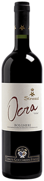 This blend comes from the Bolgheri vineyards owned by Prince Girolamo Guicciardini. The Ocra Bolgheri DOC by Strozzi convinces with its warm and fine taste and its delicious fruity bouquet. The Ocra Bolgheri from Strozzi harmonizes perfectly with red meat and medium matured hard cheese.