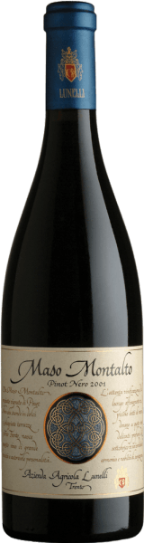 This pure Pinot Nero captivates with a characteristic intense bouquet of wild berries. The Maso Montalto Trentino Pinot Nero DOC by Azienda Agricola Lunelli pampers with a spicy and harmonious taste with wood notes and great sustainability. It harmonizes perfectly with fried meats, pasta dishes, cold roasting and medium-ripe cheese.