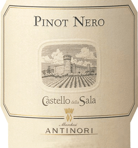 The Pinot Nero Umbria IGT by Tenuta Castello della Sala of Marchesi Antinori presents ruby red in the glass with slight garnet red nuances. On the nose aromas of violets and wild berries unfold, the first impression on the palate is characterized by balance, elegance and complexity, carried by sweet, soft tannins, which are complemented by fruitiness and spiciness. Long-lasting finish with delicate mineral note in reverberation. Vinification of the Pinot Nero Umbria IGT of Castello della Sala The grapes for this varietal Pinot Noir come from the single vineyard Consola, only 4 hectares in size, at over 400m above sea level on calcareous, sandy sedimentary soils, planted in terraces along the hill. It was first produced in 1990. This red terroir wine from Umbria is, in a sense, a rarity in the wine-growing region dominated by white grape varieties and can be regarded as the counterpart to the renowned Cervaro della Sala. The grapes are harvested manually, gently pressed, filled into small conical containers in which maceration and alcoholic fermentation take place at 26°C, then the wine is transferred into French barriques. Here it performs the complete malolactic fermentation and the subsequent ageing over ten months. After bottling, the Pinot Nero matures for over a year in the bottle store before it is placed on the market.If stored correctly, the Pinot Nero Castello della Sala may be over 10 years old. Food pairings for the Pinot Nero Castello della Sala Enjoy this elegant, fruity Pinot Nero from central Italy with cold cuts, pasta with meat sauces, risotto with truffle from Norcia, braised red meat, tender venison bread, medium-ripe cheeses.We recommend opening it one to two hours before enjoyment. Awards for the Pinot Nero Umbria IGT of Castello della Sala Gambero Rosso: 1 glass for 2014