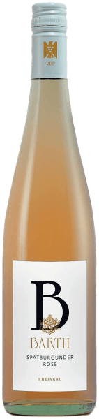The Pinot Noir Rosé QbA from Wein- und Sektgut Barth shows up in the glass in a beautiful salmon and unfolds wonderful berry aromas on the nose, which are accompanied by floral hints. This rosé wine from the Rheingau flatters the palate with its fruit play and a pleasant sweetness. A light, dry summer wine ideal for hot days. Vinification for Pinot Noir Rosé The Pinot Noir grapes for this German rosé wine are freshly pressed after harvest and left for color absorption for about 8-12 hours on the mash and then gently pressed. Food recommendation for the Pinot Noir Rosé Enjoy this dry rosé wine with summer salads, salmon and seafood or fruity desserts.