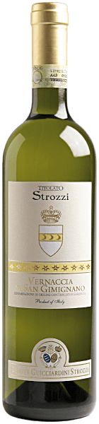 This slim wine from Strozzi is a pure Vernaccia. The Vernaccia di San Gimignano DOCG Titolato Strozzi by Strozzi is very dry, light and delicate in taste, yet pure and clear. An uncomplicated wine for every occasion that goes wonderfully with fish and poultry.