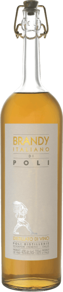 The Italiano  brandy from Jacopo Poli is a spicy, powerful brandy distilled exclusively from the Trebbiano grape variety.  In the glass, this brandy shimmers in a warm golden brown with mahogany highlights. The spicy bouquet is characterized by aromas of freshly ground coffee, nutmeg and fine bourbon vanilla. The palate is pampered by a chubby round body and spicy powerful texture. The pleasantly long finale rounds off this Italian brandy perfectly.  Distillation  of Poli Brandy Italiano The Trebbiano grapes are classically fermented to a white wine and this base wine is then traditionally distilled in old copper burners. After the firing process, this brandy still has 75% by volume. By adding distilled water, this brandy reaches an alcohol content of 40% by volume. Afterwards, this brandy rests for a total of 3 years in French allier oak barriques, before finally being gently filtered and filled onto the bottle. Serving recommendation for  the Brandy Italiano Jacopo Poli At a temperature of 18 to 20 degrees Celsius, this brandy can best unfold its aromas. Enjoy this brandy on a cozy evening with a mild cigar.