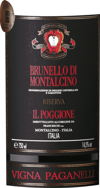 "The Brunello di Montalcino Riserva Vigna Paganelli DOCG by Tenuta il Poggione is produced only in the best years and in limited quantity. This Brunello Riserva by Tenuta il Poggione is characterized by dense ruby red color in the glass, an elegant bouquet with aromas of red fruits, leather and spices. On the palate, this outstanding Italian red wine is balanced, persistently present in the taste, with a full body and firm tannin structure, the final is seductively long. Vinification of Brunello di Montalcino Riserva Vigna Paganelli by Tenuta Il Poggione This exclusive Brunello Riserva Vigna Paganelli is a cru of Sangiovese grapes from the oldest vineyard of the ""I Paganelli"", which was planted in 1964. On this vineyard are growing vines of the highest quality, which are selectively harvested one by one, only the best and most mature are selected for this wine. After the manual harvest the must ferments 20 days on the mash. Subsequently, the wine spends 48 months in large 30 hl and 50 hl oak oak barrels from French oak, followed by a two-year bottle ageing. Only then it can be called ""Riserva"". Food pairing for the Brunello di Montalcino Riserva Vigna Paganelli by Tenuta Il Poggione This impressive Brunello Riserva is an excellent companion to red meat and game dishes, served with mushrooms or truffles, as well as mature cheese varieties. Awards James Suckling - 97 pointsAntonio Galloni - 95 pointsWine Advocate Robert M.Parker - 98 points ""The flavors of this Brunello Riserva are breathtaking with subtle forest fruits, orange peel and mushrooms, full body, very fine tannins and a long and persistent finish, the aromas are so complex with earth and dark fruits, very nice and dusty tannins. James Suckling"