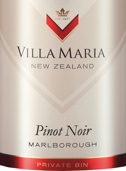 Villa Maria's Private Bin Pinot Noir is an elegant, grape-varietal red wine from the New Zealand Marlborough wine region on the South Island. In the glass, this wine shines in a bright ruby red with cherry-red highlights. The bouquet reveals the grape variety typical aromas of ripe heart cherries and lush red berry fruit (especially raspberry and red currant) - accompanied by fine hints of spices and wild herbs. This New Zealand red wine also reflects the clear pinot fruit on the palate and is supported by a gentle tannin structure. The tannins give this wine a wonderful structure - but the red fruit fullness remains in the foreground. The long finale is accompanied by finely spicy accents. Vinification of Villa Maria Private Bin Pinot Noir The Pinot Noir grapes for this red wine originate from the vineyards of Awatere and Wairau Valley. After parcel, the berries are harvested and vinified in the wine cellar of Villa Maria according to parcels. First, the readings are cold mashed in and then fermented in a stainless steel tank at a temperature of max. 32 degrees Celsius. After the fermentation process is complete, the mash is pressed and the bulk matures in French oak barriques. The smaller part is stored a little further in the steel tanks on the fine yeast and is then placed in the barriques for the batch. This red wine matures in the barrels for 9 months - the biological acid degradation is completely completed. This wine is gently filtered and poured onto the bottle. Food recommendation for the Pinot Noir Villa Maria Private Bin Enjoy this dry red wine from New Zealand with tender beef carrot with noodles, roast veal in a herb coat, braised lamb shoulder or even with mild soft cheeses.