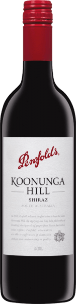 In the Australian wine-growing region of South Australia, the grapes for the pure vine variety, full-bodied Koonunga Hill Shiraz from Penfolds grow. In the glass this wine shines in a dense ruby red with purple highlights. The lush bouquet enchants the nose with a fruity aroma of ripe cherries and plums. Fresh berries, floral notes, fine spices and deliciously creamy vanilla are added. The medium body is covered with ripe, juicy fruit aromas (blueberries, fruit cake) and spicy hints (pepper and liquorice). This Australian red wine has a wonderful balance between the fruitiness and the wood aromas, which give this wine a very long and soft finish. Vinification of Penfolds Koonunga Hills Shiraz The Shiraz grapes for this red wine are harvested from selected plots in the South Australia region. Arrived in the Penfolds wine cellar, the grapes are first fermented in stainless steel tanks. Once the fermentation process is complete, this red wine is aged in oak barrels for 6 months. Food recommendation for the Shiraz Penfolds Koonunga Hills Enjoy this dry red wine from Australia with juicy roast beef in a dark sauce, lamb loin with crunchy beans, spicy pasta dishes (cannelloni or ravioli) or with medium cheese.
