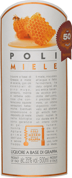 The Poli Miele Museo della Grappa by Jacopo Poli is a soft, finely sweet grappa distilled from the marc of various grape varieties from Veneto and flavoured withacacia blossom honey and herbal oil essences. In the glass, this grappa has a very bright straw yellow with glittering reflections. The fine bouquet reveals aromatic notes of pine, orange and acacia blossoms and subtle hints of juniper. On the palate, this flavoured marc brandy is wonderfully soft with a fine sweetness that is perfectly accompanied by balsamic aromas. Distillation of JacopoPoli Miele Museo della Grappa The still fresh marc of the various grape varieties from the Venetian appellation Vicenza is traditionally distilled in old copper burners. After the firing process, this grappa still has 75% by volume. By adding distilled water, this pomace brandy reaches an alcohol content of 35% by volume. After the addition of the acacia blossom honey and the fine herbs, this grappa rests for a total of 3 months in stainless steel tanks, before finally being gently filtered into the bottle. Serving recommendation for the Poli Miele Museo della Grappa Jacopo Poli This Italian marc brandy goes perfectly with desserts made of shortcrust dough or can be served as a nice end to a delicious menu. Enjoy this grappa at a temperature of 10 to 15 degrees Celsius.