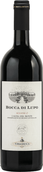 Tormaresca's Bocca di Lupo Castel del Monte DOC is a terroir wine with an impressive personality for lovers of Apulian wines. In the glass, the Bocca di Lupo shines in a dense, deep ruby red. On the nose a complex bouquet opens with intense, complementary aromas of red fruit and dried fruit, cherries, mulberries, plums, followed by spices reminiscent of liquorice, pepper, tobacco, herbs and balsamic notes. This Aglianico is elegant on the palate, with firm tannins, exceptional structure and full body, the texture balanced, tasty round and harmonious. Long-lasting and with a good persistence in the finish. Vinification of Tormaresca Bocca di Lupo Castel del Monte DOC The grapes of this pure Aglianico are harvested manually at the time of optimal ripeness. After pressing, the must is macerated in stainless steel tanks at about 25° Celsius with the skins and alcoholic fermented. The skins are gently pumped under again and again with a special technique that allows the gentle and even extraction of colour, aromas and tannins. After the extraction from the skins, the wine is immediately transferred into French oak barriques, in which the malolactic fermentation takes place and then the ageing for 15 months. After bottling, the wine matures for another 24 months in the bottle before being sold. Bocca di Lupo was born from the desire to rediscover this noble and austere indigenous grape variety and reinterpret it as an Apulian terroir wine. From fully ripe grapes, dense and mature wines with great development potential over years are produced . Bocca di Lupo represents the culmination of years of hard work and research to vinify a wine according to the ideas of Tormaresca, which began in 1998. Food pairing for the Bocca di Lupo Castel del Monte DOC by Tormaresca Enjoy elegant, characterful red wine from Apulia with typical regional dishes, red and dark meat and game, hearty ripe and spicy cheeses or also solo as fireplace or meditation wine. We reccomend to open the Bocca 