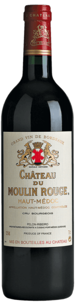 The deep ruby red of Château Moulin Rouge Cru Bourgeois Haut-Médoc AOC from Château Moulin Rouge is streaked with cherry-red highlights. Its lush, powerful and inviting bouquet combines aromas of ripe blackberries, red and black currants and strawberries with cherry liqueur and delicate spicy notes. The powerful, juicy, structured palate is based on a beautiful tannin structure surrounded by an oppulent, aromatically concentrated fruit. This bourgeois blends perfectly with forest mushrooms, roasted quails, small game, lamb with herbs and, in more mature vintages, with braised lamb, game ragouts and spicy cheeses such as cantal and laguiole.