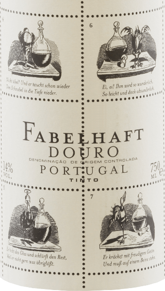 """The vivid ruby red Niepoort Fabelhaft Douro Tinto shows purple reflections and shimmers in the glass with medium density colour. The lively fragrant nose of this red wine cuvée from Touriga Franca, Touriga Nacional, Tinta Roriz, Tinta Amarela and other grape varieties convinces with fresh, deep and very intense aromas of wild berries, juicy blackberries and some plum. Sweet spices and spicy tea leaves blend harmoniously with the balsamic character of Fabelhaft Douro Tinto. On the palate, the Fabelhaft Tinto reveals an elegant, voluminous and youthfully fresh taste with a perceptible mineral profile. A beautiful, lively fruit acid and soft tannins complete the balanced palate feeling. In the Fabelhaft Tinto, not only the content but also the appearance of the red wine bottle is remarkable. For this, Dirk Niepoort chose a story by Wilhelm Busch, currently that of the raven Hans Huckebein. His life came to a bad end, not least through the consumption of alcohol, and has coined the term """"unlucky raven"""" to this day. Fables like Huckebein's are the reason why Niepoort named this wine series Fabelhaft - and they taste like that! With Fabelhaft Tinto, Dirk Niepoort has proven that red wines full of character from Portugal are possible at a fair price. Not only that, with his Wilhelm Busch label he has also created a wine that is immediately recognizable. Vinification of the Fabelhaft Tinto The harvest starts at the beginning of September, when the grapes for the Fabelhaft Douro wines are harvested with a focus on freshness, acidity and fruit. Overripe grapes should be avoided for the Fabelhaft Douro Tinto. After selecting the grapes in the cellar, the grapes were destemmed, crushed and fermented. After the fermentation the wine matured to 15% for 12 months barriques of French oak (second allocation). Food recommendation for the Fabelhaft wine Tinto from Niepoort Enjoy this Portuguese red wine with pasta with spicy vegetable or meat sauces, with pizza and with beef or pork d"""