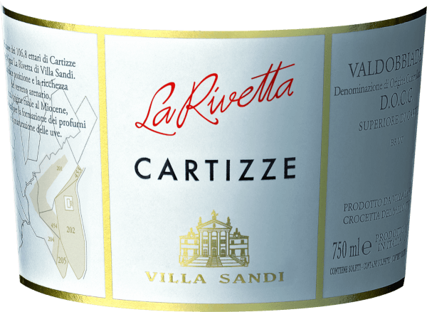 """This limited edition Cartizze Prosecco Superiore Spumante DOCG from Villa Sandi shines in a light straw yellow with intense and persistent perlage. It unfolds a fresh, dry, tart and pleasant fragrance with a fruity aroma of ripe yellow apples and exotic citrus fruits. This is rounded off with a persistent floral note of glycinia and acacia flowers. The taste is fresh, dry, strict and at the same time pleasantly soft. A delicate foam flatters the palate and develops soft, fruity sensations. Food recommendationfor Cartizze Prosecco Superiore Spumante DOCG from Villa Sandi Ideal as an aperitif or as a meal accompaniment to salmon. Information about the Cartizze Winery is a small hilly area in Italy with 106 hectares between Santo Stefano and S. Peitro di Barbozza in the municipality of Valdobbiadene. In this area lies """"La Rivetta"""", a cru location. It is the result of a perfect combination of a microclimate and old land."""