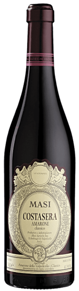 This Costasera Amarone della Volpolicella Classico DOC from Masi Agricola has a very dark, ruby-red colour in the glass. It has an impressive fruity bouquet with notes of cherry and plum jam, as well as fine spices. Its unique flavours of concentrated fruit with hints of coffee and cocoa thrill the palate, and it is rounded off by a well-balanced structure. Smooth, mild tannins and hint of sweetness accompany its long, intensive finish.This wine is an ideal partner for partridge, red meats, wild game and ripe cheeses such as Parmesan, Pecorino and Gorgonzola. It is also an excellent after-dinner wine on its own. The Amarone is a unique wine in respect to its flavour, the ancient grapes used for its production, as well as regarding the production process used to create this speciality.