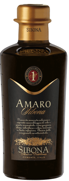 The Amaro Sibona by Antica Distilleria Sibona is a unique herbal liqueur with exceptional properties, produced according to an ancient Piedmontese family recipe, spicy on the nose, mild and aromatic in taste. 34 different herbs, medicinal herbs and aromatic plants, such as gentian, real millennial herb, rhubarb and other herbs are used. The ingredients are slowly macerated in their special composition for several weeks and then subjected to maturation. Recommendations for the Amaro Sibona from Antica Distilleria Sibona Enjoy this fine Piedmontese herbal liqueur from the historic Distilleria Sibona neat or on the rocks or with ice creams and desserts or as a refined ingredient in risotto.  Awards International Spirits Competition 2013 - Great Gold International Spirits Competition 2016, 2015, 2014 and 2012 -Gold