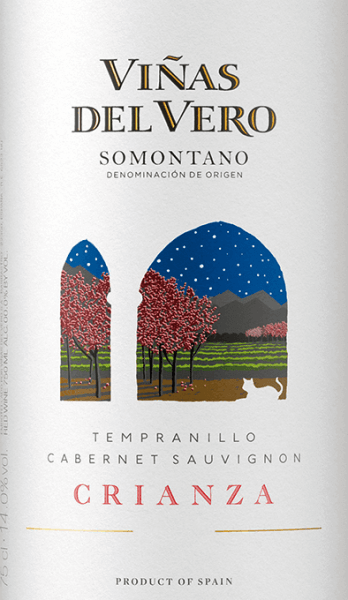 The Crianza of Viñas del Vero is a wonderful Spanish red wine cuvée from the Spanish DO Somontano region, which combines the two grape varieties Tempranillo and Cabernet Sauvignon. In the glass, this wine shines in a deep garnet red with ruby red reflections. The bouquet is characterized by the expressive aromas of sweetly ripened berries - especially raspberry, blackberry and currant - as well as elegant spices and roasted notes. On the palate, this Spanish red wine begins to show its gentle side before it becomes increasingly powerful and aromatic. The ripe fruit harmonizes wonderfully with the subtle oak wort. A harmonious and balanced red wine that closes with a beautiful length. Vinification of Viñas del Vero Crianza After harvesting the grapes, the harvested material is immediately taken to the Viñas del Vero winery where it is completely destemmed, gently ground and cold mashed for 48 hours. By mashing in the berry peels, the first aromas and color pigments are extracted from the berry peels. The mash is then fermented in stainless steel tanks for 14 days. The cellar master only uses the fine, free-flowing preliminary wines from the mash for this red wine. Finally, this wine rests for 8 months in oak barrels. Only slightly filtered, the Viñas del Vero Crianza is filled into the bottle. Food recommendation for the Crianza Viñas del Vero Enjoy this dry red wine from Spain with fried beef with stewed vegetables, spicy stews, or with medium-strength cheese.