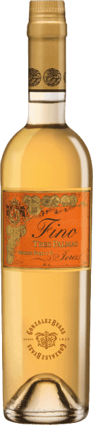 The Palomino Fino grapes for the grape-varietal, full-bodied and smoothTres Palmas of Gonzalez Byass grow in the Spanish wine-growing region DO Jerez. In the glass, this wine has a dark gold with greenish-golden highlights. Very intense and with a powerful bouquet, this sherry takes its nose - classically spicy aromas reveal themselves after many nuts, fresh bread crusts and hints of dried herbs. Even on the palate, this sherry convinces with strength and a dry, dense and harmonious body. Through the yeast of the cask maturity, the Byass Tres Palmas gains in a present fullness and suppleness. The pleasantly long reverberation is accompanied by nutty nuances. Vinification of Gonzalez Byass Tres Palmas Fino In September, the Palomino Fino grapes are carefully harvested, immediately brought to the wine cellar of Gonzalez Byass and gently pressed there. At low temperatures, this sherry is fermented and then sprayed onto 15.5% by volume and placed inTio-Pepe-Solera. For 10 years, this sherry matures in American oak wooden barrels and is unfiltered after this maturation period and filled unpleasantly by hand onto the bottle. Food recommendation for the Tres Palmas Byass Fino In a small wine glass, this sherry can best reveal its variety of flavours. Enjoy this wine solo or serve it with strong game dishes or fried tuna. Awards for Fino Tres Palmas Gonzalez Byass Robert M. Parker - Wine Advocate: 93 points Wine Spectator: 92 points (awarded December 2017)