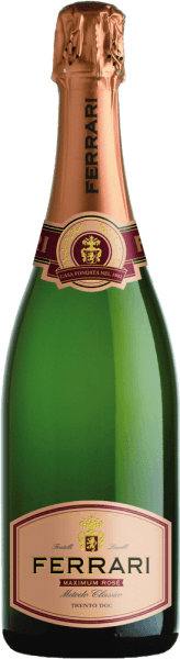 This sparkling cuvée from Ferrari consists of 60% Pinot Noir and 40% Chardonnay. Ferrari Maximum Rosé exudes a delicate bouquet of yeast and berries, rounded off by a complex and spicy finish. The spumante shines with its balanced taste, its elegance, its sustainable finish with fine yeast and mild tannin as well as an appetizing aroma of wild berries with a spicy note. For discerning wine lovers, it can accompany a whole menu. Awards for Ferrari Maximum Rosé from Ferrari Bibenda: 4 grapes