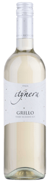 """Mondo del Vino's Itinera Grillo Sicilia IGT is a typical southern Italian white wine, which is presented in the glass in a light golden yellow. Here, wonderfully fresh aromas of lemons, limes and a hint of tropical fruits unfold. This pure grillo delights on the palate with its liveliness and the harmonious impression, which gives an """"easy drinking""""feeling. Food recommendation for the Itinera Grillo Sicilia IGT Enjoy this dry white wine as an aperitif or with saithe roulade with Parma ham and tomato sauce."""