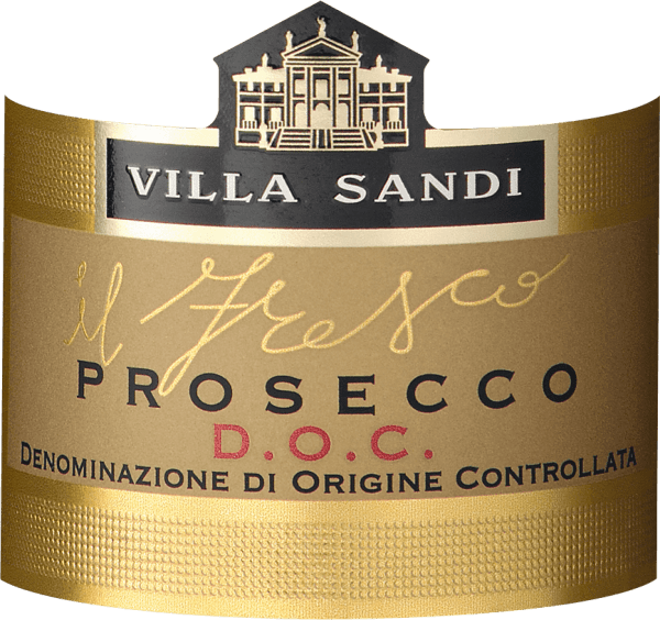 """Villa Sandi's il Fresco Prosecco Spumante DOC Brut has been voted Prosecco of the Year several times (Weinwirtschaft - Meininger Verlag). It is and remains a truly outstanding, crisp and fruity recommendation! """"Great grape cinema"""" writes the GQ magazine. The Prosecco il freso is the right prosecco for the next family celebration, the correct aperitif for an appropriate wine tasting or simply a nice meal. One of VINELLO's best sellers of Prosecco. Tasting note of the Villa Sandi il Fresco Prosecco Spumante DOC Brut It has a straw-yellow colour with an extremely subtle, fine and silky perlage and a long-lasting, fresh mousse. Il Fresco means """"The Freshness""""! The nose and palate reveal aromas of fresh Granny Smith apples and Williams pears as well as cantaloupe melon. In the mouth it appears fresh and sparkling and knows how to convince with its perfect sweetness and acidity. Simply a grandiose, perfectly produced Prosecco-Spumante, which cuts a fine figure as an aperitif as well as an accompaniment to light meals. Awards of the Villa Sandi Prosecco il fresco Ten times in a row, Villa Sandi's Il Fresco was awarded the Prosecco of the Year by the magazine """"Weinwirtschaft"""". Mundus Vini 2014: Gold for Villa Sandi Prosecco il fresco Weinwirtschaft: Prosecco of the year 2015, 2014, 2013, 2012, 2011, 2010, 2009, 2007, 2006 & 2004 and best sparkling wine of Italy 2008 """"Seems almost unbeatable as Prosecco Spumante in the German trade. Stable quality, plus top-notch equipment."""""""