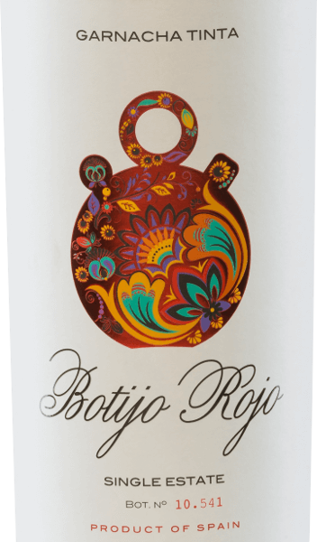 The Botijo Rojo Garnacha Tinta of the Bodegas Frontonio shimmers in the glass in a strong ruby red. The complex bouquet offers wonderful aromas of juicy black cherries, ripe blackberries and freshly ground pepper. The aromas of the nose are accompanied by pleasant spice aromas. On the palate, this Spanish red wine convinces with its strong, fresh and fruity character. Here, too, the aromas from the bouquet are reflected. The tannins are perfectly balanced. Vinification of Botijo Rojo Garnacha Tinta by Bodegas Frontonio Garnacha Tinta Botjio Rojo is a pure red wine made from Garnacha grapes. The grapes for this red wine from Spain come from 35 to 45 years old vines, which grow on a vineyard of 353 u.d.M. The soil is rich in lime and is permeated by a layer of clay.  Fermentation takes place in stainless steel tanks, followed by malolactic fermentation in old cement tanks. This red wine retains its fresh and fruity personality.  Food recommendation for  the Garnacha Tinta Botijo Rojo This red wine from Aragon is the perfect accompaniment to pork tenderloin with blueberry and dumplings, roast beef with braised vegetables and potato stew and spicy, ripe cheese.  Awards for Botijo Garnacha Tinta Frontonio Berlin Wine Trophy: Gold for 2015