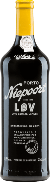 The Late Bottled Vintage by Niepoort is revealed in a wonderfully intense ruby violet colour. This port wine is vinified from  Sousão, Tinta Amarela, Tinta Cão, Tinta Francisca, Tinta Roriz, Touriga Francesa, Touriga Nacional and other red grape varieties.  The bouquet is dominated by multi-layered aromas of red cherry fruit and spices, complemented by a delicate pepper note and hints of dark chocolate. The wonderfully concentrated, voluminous but at the same time soft and elegant port wine reveals firm tannins. The beautiful acidity gives this port wine freshness and balance. This port is rounded off by a pleasant, long finish. Vinification of Niepoort Late Bottled Vintage The manually harvested grapes of the Niepoort winery come from the vineyards of the Cima Corgo region in the Douro Valley. These are first carefully selected, then pressed and the resulting mash with the stems in traditional lagares is crushed and fermented with the foot. This port then matures for four years in large oak barrels and vats in the cellars in Vila Nova de Gaia. Food recommendation for the Port Niepoort LBV We recommend this port wine with fried spicy meat such as veal, lamb, pepper steak or game, with chocolate dessert, especially with bitter chocolate and cheese (cheddar, gouda, brie, blue cheese).