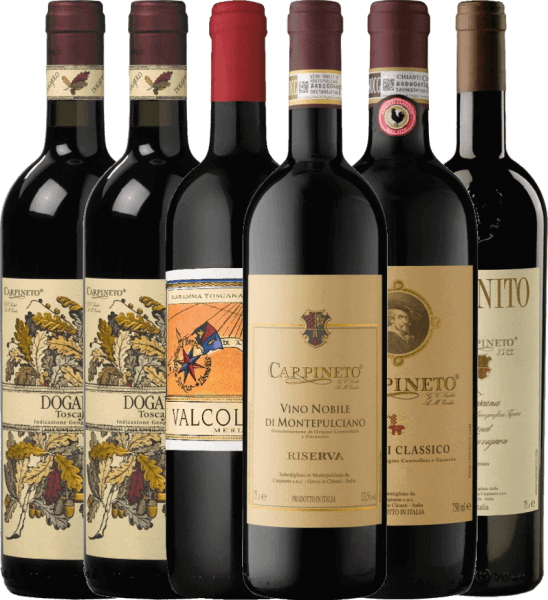 With this 6-pack we take you on the journey to Italy to the Tuscan top wine Carpineto. Included are five selected red wines from the Italian winery, which you can enjoy solo for cozy evenings with family and friends or also for your perfect dinner. The Carpineto introductory package includes: 2 bottles: Dogajolo Toscano Rosso IGT 1 bottle: Valcolomba Merlot Maremma IGT 1 bottle: Chianti Classico DOCG 1 bottle: Farnito Cabernet Sauvignon Toscano IGT 1 bottle: Vino Nobile di Montepulciano Riserva DOCG