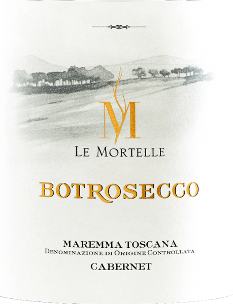 The Botrosecco Maremma Toscana DOC from Le Mortelle glows ruby red in the glass. On the nose it presents a rich and intense bouquet with aromas of dark berry jam, candied cherries and caramel, chocolate, as well as balsamic notes of eucalyptus and mint. On the palate powerful, captivating, fruity, with present, velvety tannins, full-bodied, in the aftertaste hints of chocolate and cherry appear. Vinification of Botrosecco Maremma Toscana DOC by Le Mortelle Botrosecco is a cuvée of Cabernet Franc 40% and Cabernet Sauvignon 60%. After selective harvesting, the grapes are destemmed, gently pressed and placed in stainless steel tanks where alcoholic fermentation takes place at a controlled temperature, and maceration for 15 days with repeated lifting of the skinned cap to obtain only the best tannins. Once the skins have been removed, the wine is transferred to stainless steel tanks, where malolactic fermentation is completed by the end of the year. Botrosecco is then aged for 12 months in barriques before being bottled. Food pairings for Botrosecco Maremma Toscana DOC from Le Mortelle Enjoy this fruity and powerful red wine from southern Tuscany with typical dishes of regional cuisine, roasts, game, wild boar ragout, spicy cheeses. Awards for Botrosecco Maremma Toscana by Le Mortelle Gambero Rosso: 2 glasses for 2015 and 2014