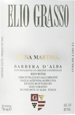 The Barbera d 'Alba Vigna Martina DOCbyElio Grasso is a cru from the vineyard of the same name. This classic red wine presents itself as an opulently fruity, very supple and powerful model Piemontese with an appealing bouquet of red fruits and the varietal, vinous scent. Dry in taste, with well-integrated, fresh acidity, velvety, full-bodied and elegant on the palate. Soft, winy, long finish Vinification of the Barbera d 'Alba by Elio Grasso The Barbera grapes are harvested exclusively by hand. After several days of mash fermentation with daily undermining of the grapes and malolactic fermentation, the wine is aged in French oak barriques, followed by at least another 8 months of bottle storage. Food recommendation for the Barbera d 'AlbaVigna Martina Enjoy this very beautiful, appealing Barbera d 'Alba with pasta with spicy sauces, regional Piedmontese cuisine, fine sausages and tasty meat dishes. Awards for Vigna Martina by Elio Grasso Wine Spectator: 90 points (2013) Bibenda: 4 grapes (2013)